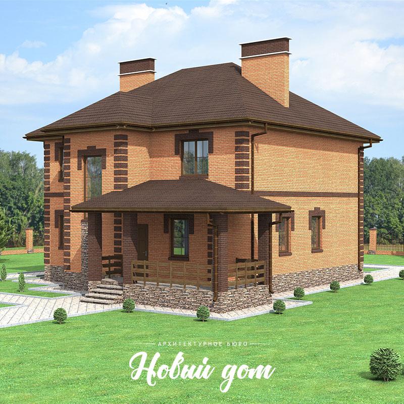 Кирпичный двухэтажный коттедж