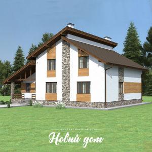 Интересный дом с двухуровневой крышей