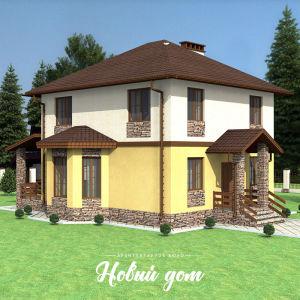 Двухэтажный дом с яркой отделкой