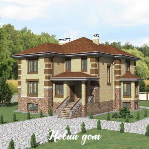 Большой кирпичный дом с зимним садом