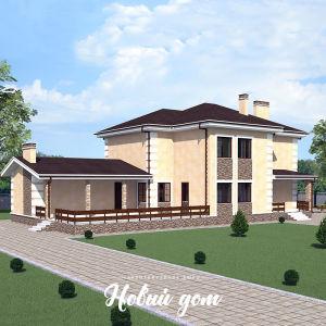 Двухэтажный дом с пристроенным банным комплексом