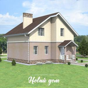 Небольшой двухэтажный дом в штукатурке пастельных цветов