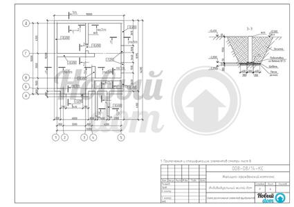 Схема расположения элементов фундамента загородного дома