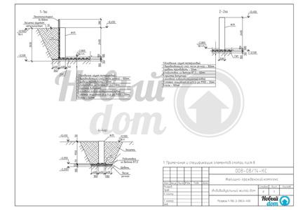 Разрезы, характерные узлы фундамента частного дома