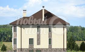 Второй фасад дома с цокольным этажом