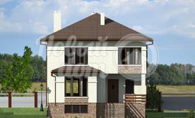 Первый фасад трехэтажного дома с цокольным этажом на участке с уклоном