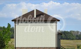 Второй фасад трехэтажного дома с цокольным этажом на участке с уклоном