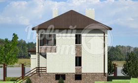 Третий фасад трехэтажного дома с цокольным этажом на участке с уклоном