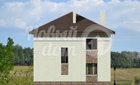 Четвертый фасад трехэтажного дома с цокольным этажом на участке с уклоном