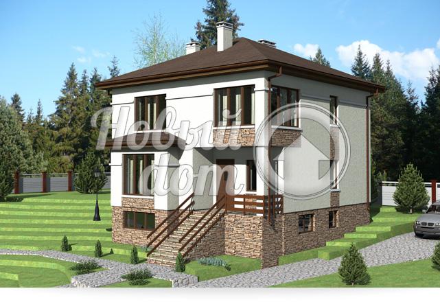 Проект трехэтажного дома с цокольным этажом на участке с уклоном
