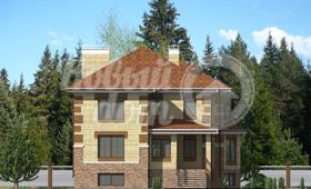Второй фасад трехэтажного частного дома