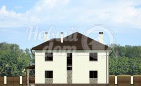 Третий фасад двухэтажного загородного коттеджа
