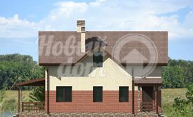Первый фасад двухэтажного частного дома с мансардой