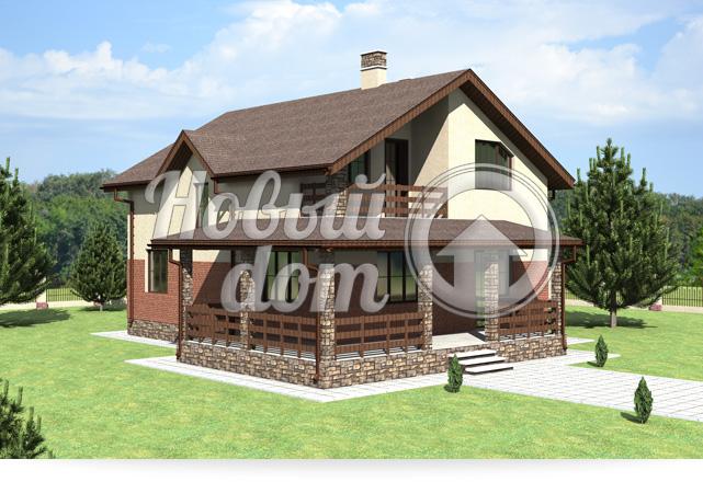 Готовый проект двухэтажного загородного дома с балконом
