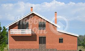 Второй фасад двухэтажного частного дома с гаражом