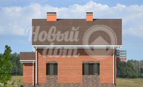 Четвертый фасад двухэтажного загородного коттеджа с гаражом