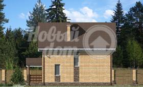 Первый фасад двухэтажного частного дома из газобетона