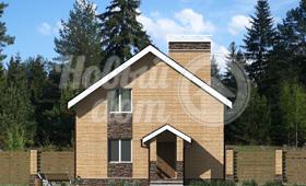 Третий фасад двухэтажного загородного коттеджа из газобетона