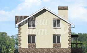 Второй фасад двухэтажного частного дома из газобетона