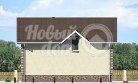 Четвертый фасад двухэтажного загородного коттеджа из газобетона