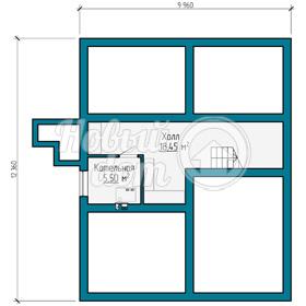 План цокольного этажа коттеджа из газобетоных блоков