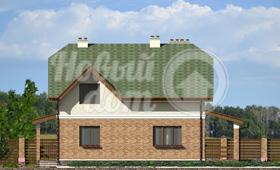 Первый фасад двухэтажного частного дома из газобетона с мансардой