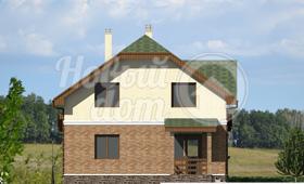 Второй фасад двухэтажного частного дома из газобетона с мансардой