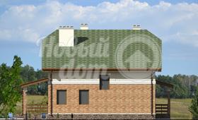 Четвертый фасад двухэтажного загородного коттеджа из газобетона с мансардой