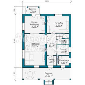 План первого этажа загородного дома из газобетоных блоков