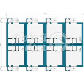 План первого этажа треэтажного таунхауса с мансардой