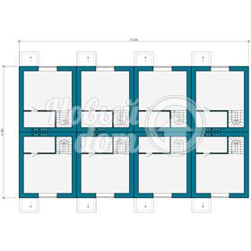 План мансардного этажа треэтажного таунхауса из керамзитобетонных блоков