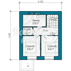 План второго этажа треэтажного таунхауса с мансардой