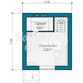 План мансардного этажа треэтажного таунхауса