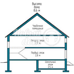 Разрез двухэтажного коттеджа в Самаре