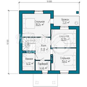 План второго этажа двухэтажного дома с мансардой в Самаре