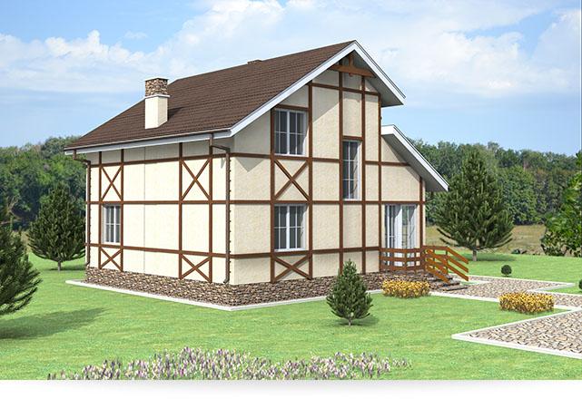 Проект двухэтажного фахверкого дома