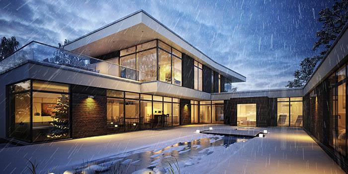 Частный дом с плоской крышей зимой