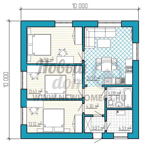 1-этажный коттедж до 100 квадратных метров с 3-мя спальными и общей комнатой