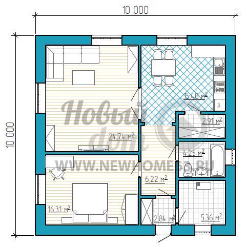 Одноэтажный частный дом с большой гостиной и одной спальной