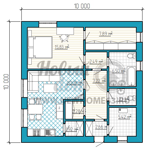 Одноэтажный дом с 2-мя санузлами и большой гардеробной