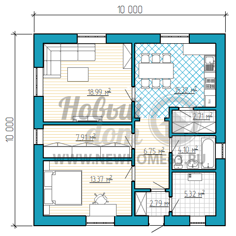 Одноэтажный дом с одной спальной и раздельными помещениями кухни и гостиной