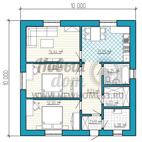 Одноэтажный коттедж 10 на 10 метров с двумя спальными комнатами и раздельными помещениями кухни и гостиной