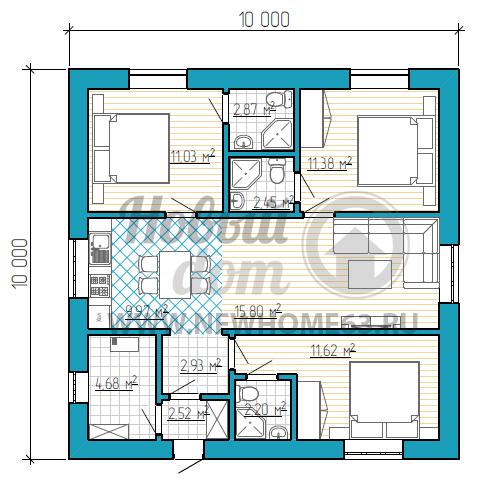 Одноэтажный дом площадью до 100 кв. м с тремя спальными комнатами с санузлами