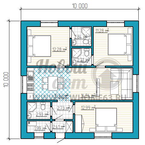 Одноэтажный дом площадью до 100 кв. м с тремяспальными иобщей кухней-гостиной