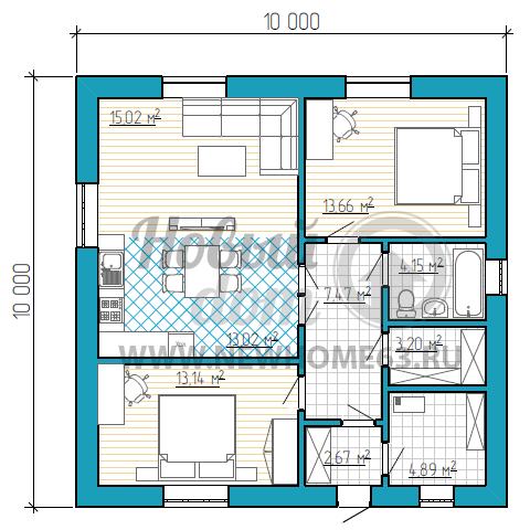 1-этажный коттедж 10 на 10 м с 2-мя комнатами и большим общим пространством