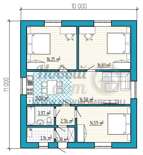 Планировка дома 10х11 м с общей зоной кухни-гостиной и тремя раздельными спальнями.