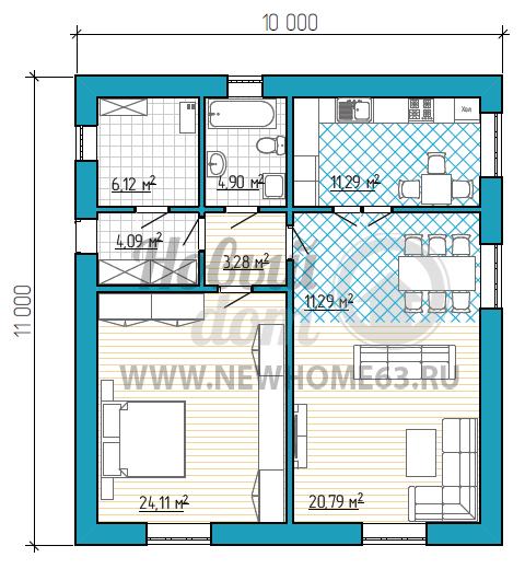 Планировка просторного коттеджа с одной большой спальней, гардеробной и просторной гостиной с зоной столовой.