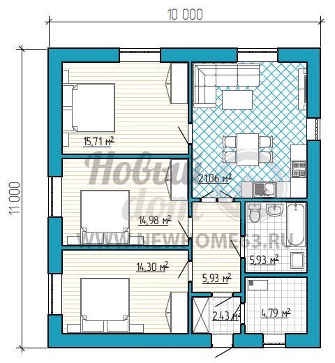 Планировка коттеджа с тремя спальными комнатами, общей зоной кухни и гостиной, и с просторной ванной комнатой.