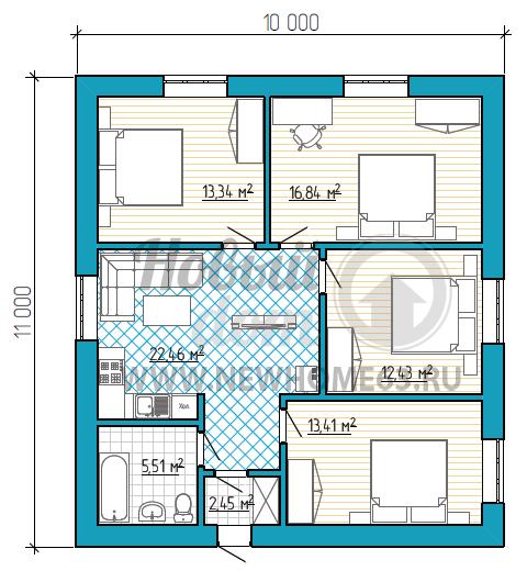 Планировка дома размером 10 на 11 метров с 4-мя спальными, одну из которых можно использовать в качестве рабочего кабинета, и общей кухней-гостиной.