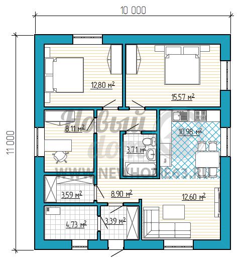 Планировка дома с двумя спальными и отдельным рабочим кабинетом, зона кухни и гостиной образует одно общее пространство. А отдельный гардероб позволяет экономить место в спальных